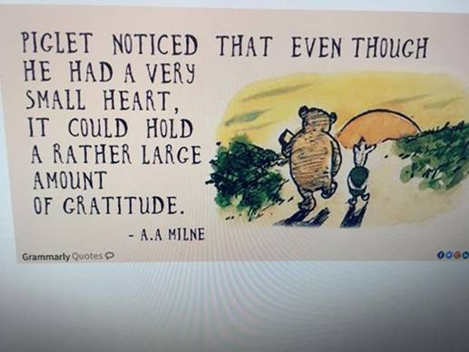 May be an image of food and text that says 'PIGLET NOTICED THAT EVEN THOUGH HE HAD A VERY SMALL HEART, IT COULD HOLD A RATHER LARGE AMOUNT OF GRATITUDE. -A.A MILNE Grammarly Quotes'